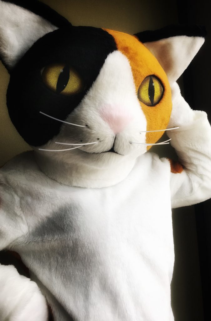 a large calico cat in orange, black, and white mascot costume