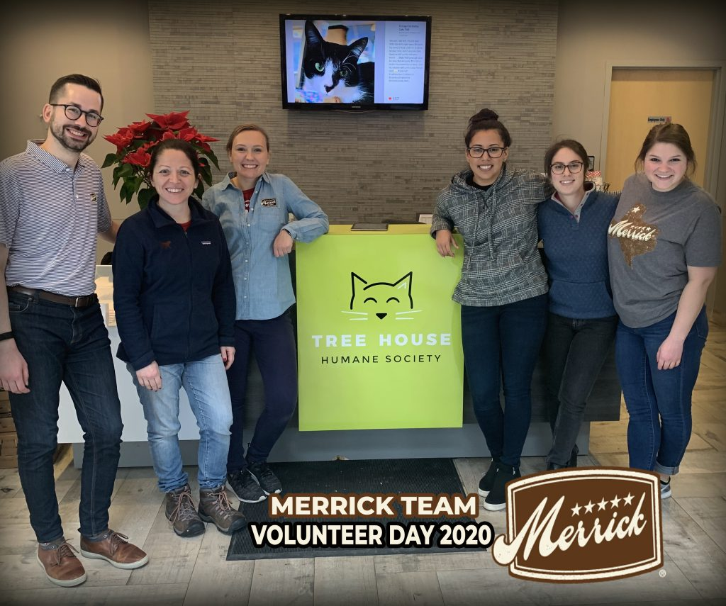 the merrick team stands in the tree house lobby by our logo
